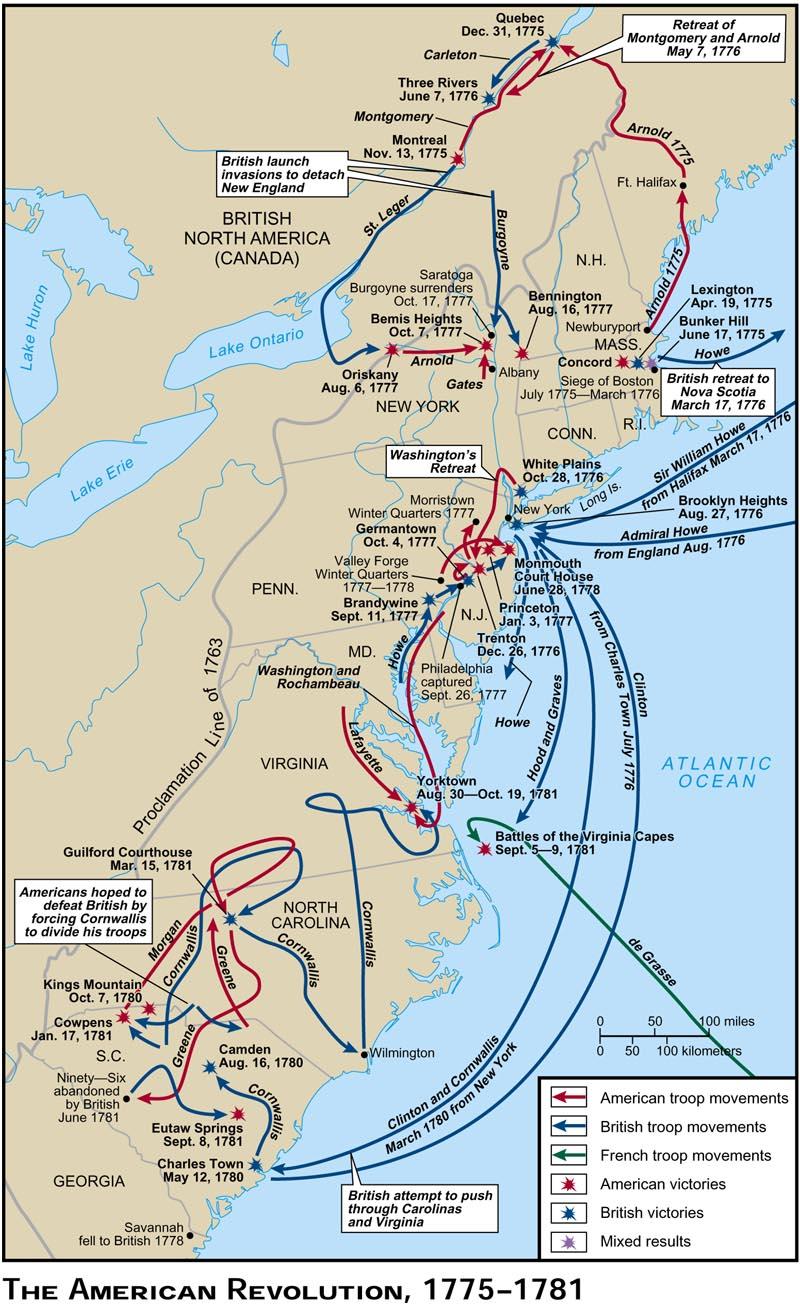 american revolutionary war map